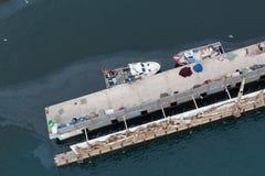 High angle view of fishing boats moored at pier Royalty Free Stock Photos