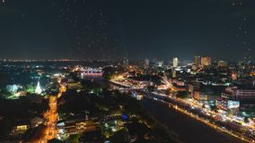 4K Timelapse of Floating lanterns and People in Yee Peng Festival or Loy Krathong celebration in Chiangmai, Thailand. High angle view of Floating lanterns stock video