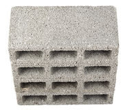 Isolated Construction Blocks - Four High Angle. High angle view of four gray concrete construction blocks (a.k.a. cinder block, breeze block, cement block Stock Photography