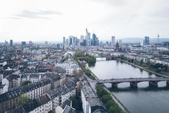 High angle view of Frankfurt am Main skyline with Main river. On clear day Stock Image