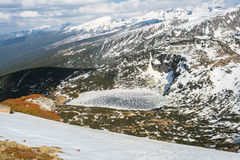 High Angle View of a Frozen Mountain Lake Royalty Free Stock Photography