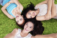 High angle view of girls at field Royalty Free Stock Photos