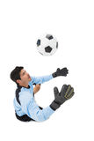 High angle view of goal keeper in action Stock Photo