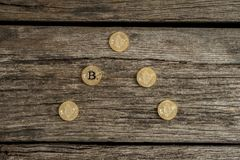 High angle view of golden Bitcoin coins Stock Image