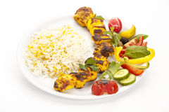 High Angle View Of Grilled Chicken Kebab Stock Image