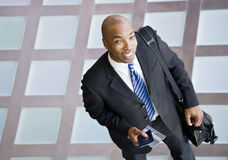 High angle view of happy African businessman Stock Image