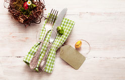 High angle view of happy easter cutlery with napkin Royalty Free Stock Photography