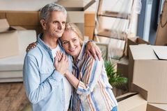 high angle view of happy senior couple embracing and holding hands while stock photos