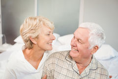 High angle view of happy senior couple in nightwear Stock Photos