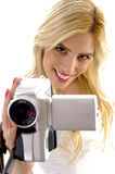 High angle view of happy woman with handy cam Royalty Free Stock Photo