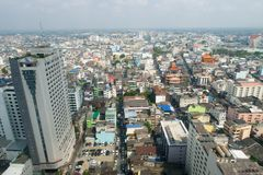 High angle view of Hat Yai city, Songkhla, Thailand during daytime. Hatyai, Songlhal, THAILAND - 17 FEB, 2018: High angle view of Hat Yai city, Songkhla Stock Image