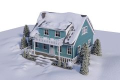 High angle view of house covered in snow Royalty Free Stock Image