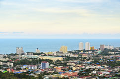 High angle view Hua Hin city Royalty Free Stock Photography