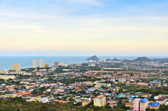 High angle view Hua Hin city Stock Photography