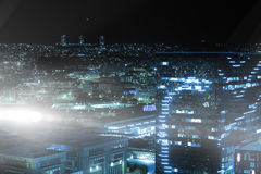 High angle view of illuminated crowded cityscape. At night Royalty Free Stock Photography