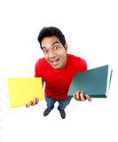 High angle view of  an Indian student going crazy. Stock Photos
