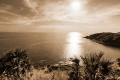 High angle view island and sea at Laem Phromthep on sepia color tone Stock Photos