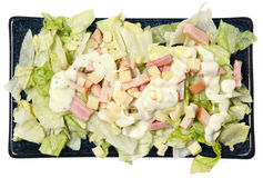 High Angle View Isolated Chef Salad on Plate. Over White Stock Photos