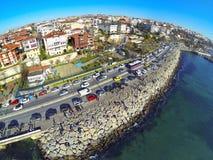 High angle view of Istanbul towards Harem coastline. Showing many cars and coastal street along Bosphorus Sea Stock Photos