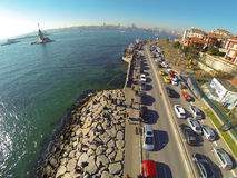High angle view of Istanbul towards Uskudar coastline Stock Images