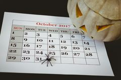Jack o lantern with artificial spider on calender over black background Royalty Free Stock Photos