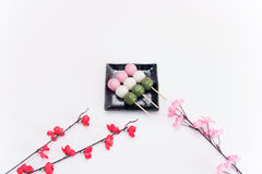 High angle view on Japanese Three Colour Dango Dumplings on white background Stock Photos