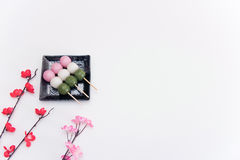 High angle view on Japanese Three Colour Dango Dumplings on white background Royalty Free Stock Image