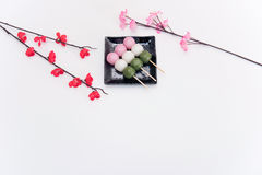 High angle view on Japanese Three Colour Dango Dumplings on white background Stock Images