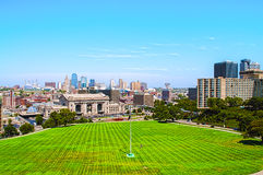 A  high angle view of Kansas City Missouri. A wide, high angle view of Kansas City Missouri,Union Station,and all of the downtown area buildings Stock Photography