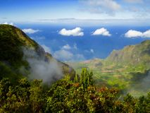 High-Angle view of Kauai, Hawaii valley royalty free stock photo