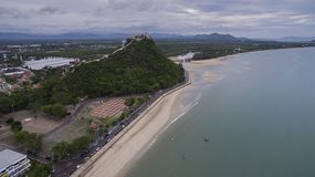 High angle view of khao takieb temple and sea coast of prachuap Royalty Free Stock Photography