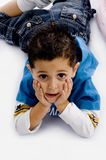High angle view of laying adorable boy Royalty Free Stock Image