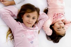 High angle view of little sisters Royalty Free Stock Image