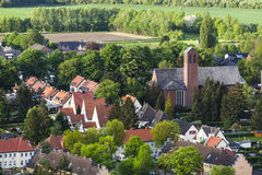 High angle view of little village Stock Photography