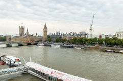High angle view from London eye:  Westminster Bridge, Big Ben an Stock Images