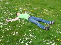 High Angle View of Lying Down on Grass Royalty Free Stock Photos