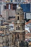 High angle view of Malaga cathedral royalty free stock images