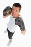 High angle view of male boxer stock photo