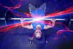 High angle view of man doing bench press with barbell Stock Photo