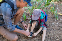 High angle view of man tying shoelace of son Stock Photos