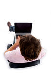 High angle view of man working on laptop Royalty Free Stock Photo