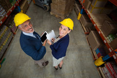 High angle view of managers are wearing hard hat and looking the camera Royalty Free Stock Photography