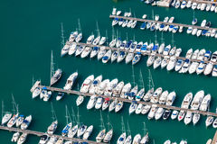 High angle view of the marina in Calpe, Alicante, Spain Royalty Free Stock Image