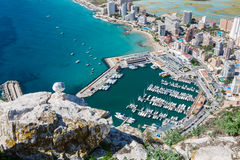 High angle view of the marina in Calpe, Alicante, Stock Photography