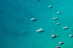High angle view of the marina in Calpe, Alicante, Spain. royalty free stock image