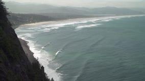 Nehalem Bay State Park Beach 4K. UHD. A high angle view of the Nehalem Bay State Park Beach. 4K UHD stock video
