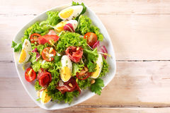 High Angle View of a Nutritious Salad with Egg Stock Images