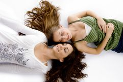 High Angle View Of Smiling Friends Royalty Free Stock Photography