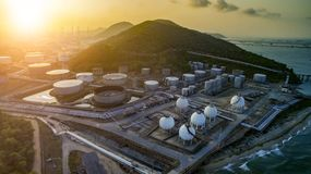 High angle view of oil petrochemical plant and gas storage tank Stock Photos
