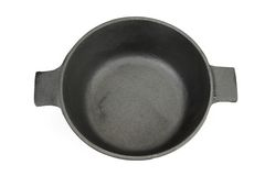 High Angle View On The Opened Cast Iron Pan Isolated Stock Photography
